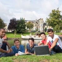 Students by the river