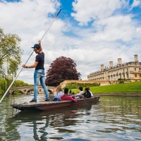 Students punting on the river Cam