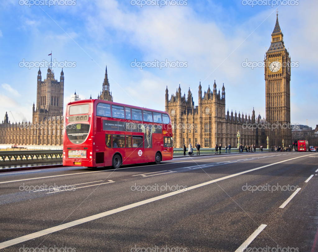 Red Bus on Westminster Bridge
